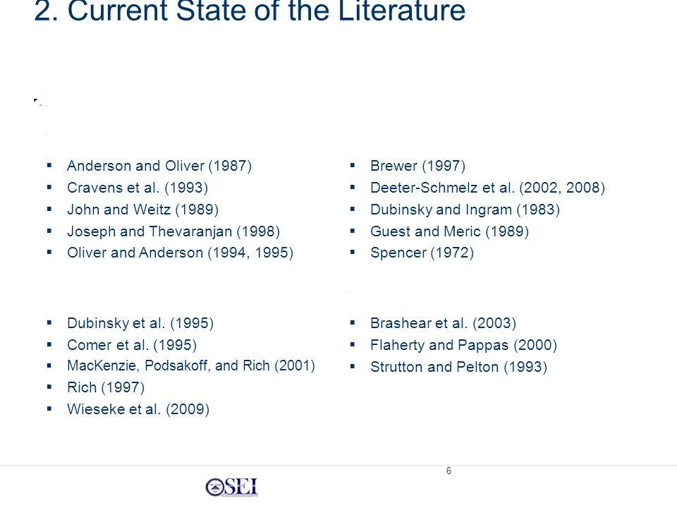 6 Trust  Brashear et al. (2003)  Flaherty and Pappas (2000)  Strutton and Pelton (1993) Effectiveness  Brewer (1997)  Deeter-Schmelz et al. (2002