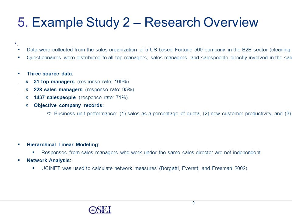 9 5. Example Study 2 – Research Overview Methodological Approach  Hierarchical Linear Modeling:  Responses from sales managers who work under the sa