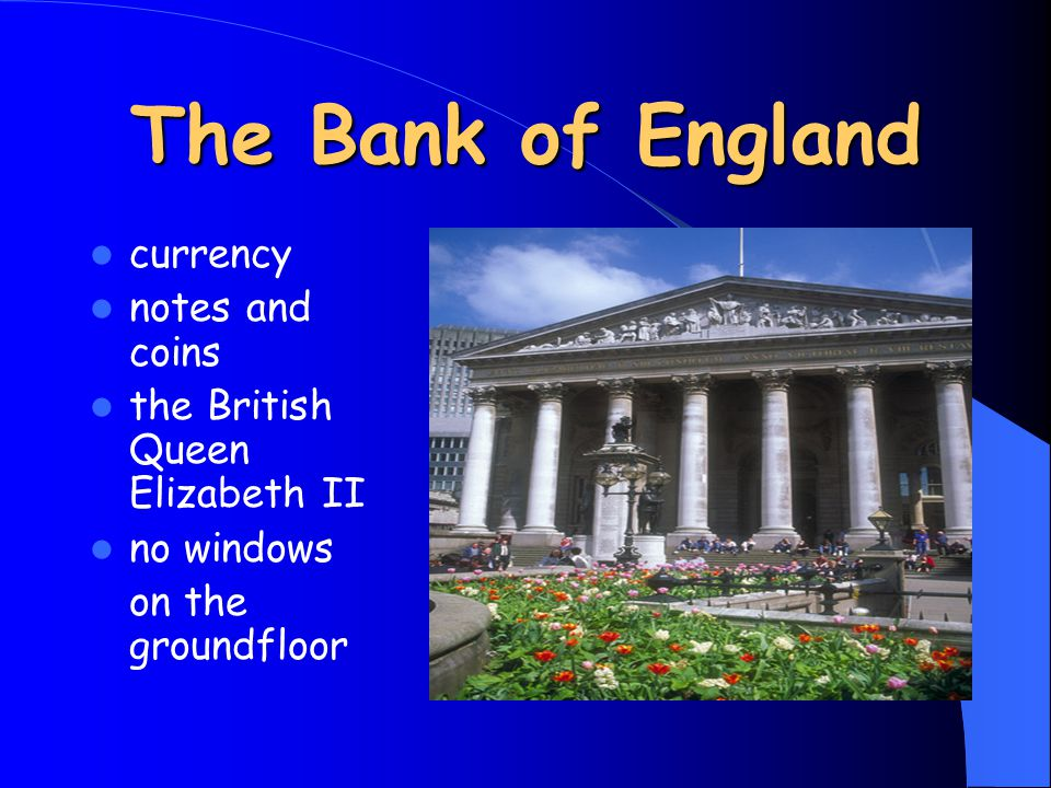 The Bank of England currency notes and coins the British Queen Elizabeth II no windows on the groundfloor