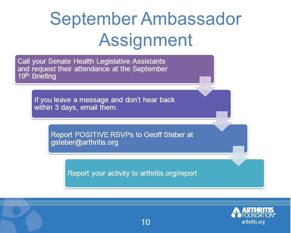 September Ambassador Assignment 10 Call your Senate Health Legislative Assistants and request their attendance at the September 19 th Briefing If you