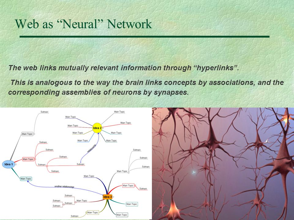 "7 Web as ""Neural"" Network The web links mutually relevant information through ""hyperlinks"". This is analogous to the way the brain links concepts by a"