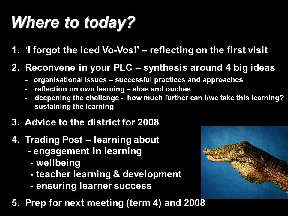 3 Where to today.Where to today. 1. 'I forgot the iced Vo-Vos!' – reflecting on the first visit 2.