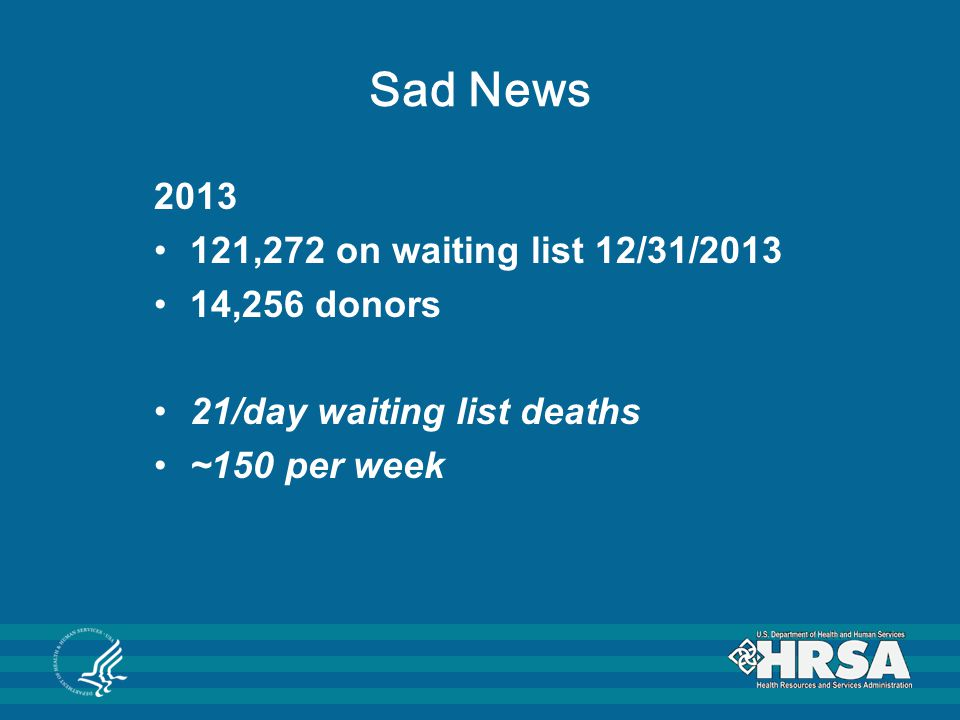 * Data from www.optn.orgwww.optn.org ** Data include deceased and living donors Status of Donation and Transplantation