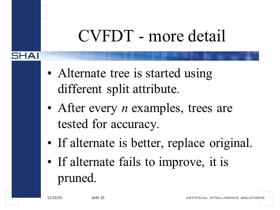 12/20/01slide 20 CVFDT - more detail Alternate tree is started using different split attribute.
