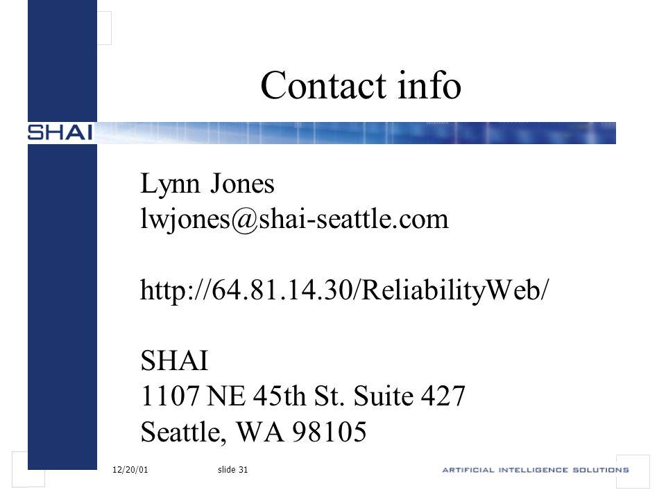 12/20/01slide 31 Contact info Lynn Jones lwjones@shai-seattle.com http://64.81.14.30/ReliabilityWeb/ SHAI 1107 NE 45th St.