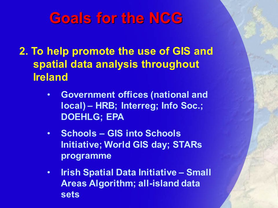 Goals for the NCG 2.