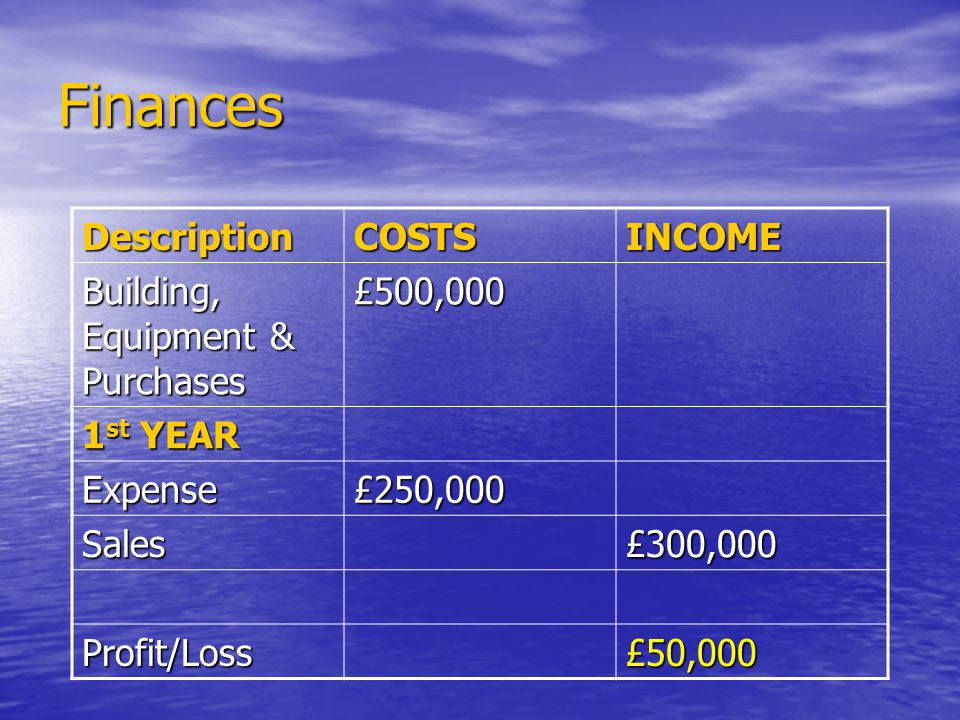 Finances DescriptionCOSTSINCOME Building, Equipment & Purchases £500,000 1 st YEAR Expense£250,000 Sales£300,000 Profit/Loss£50,000