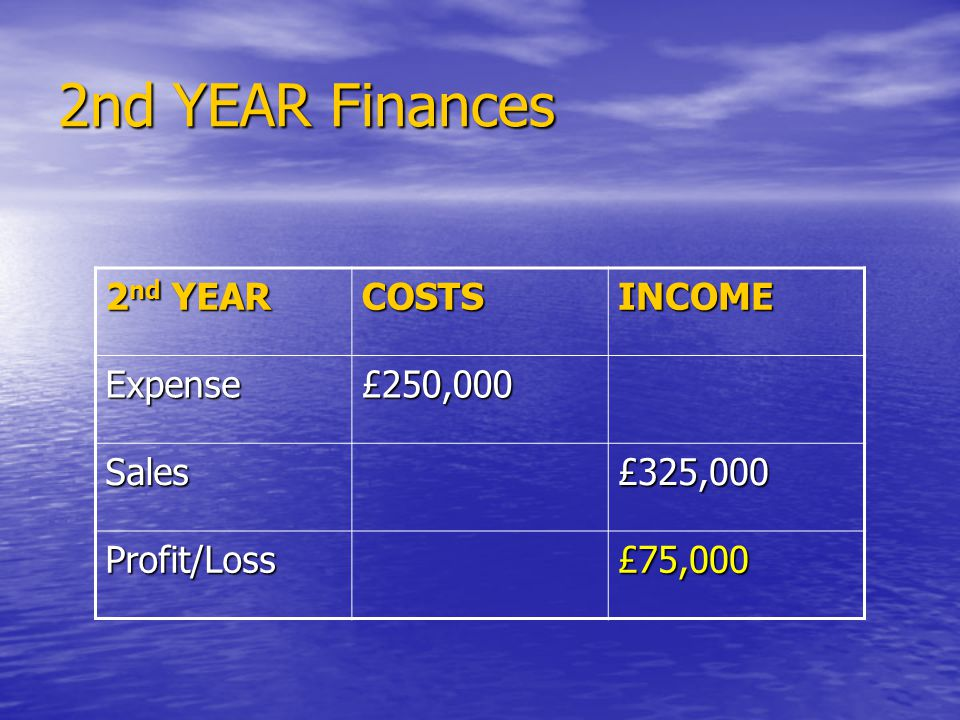 2nd YEAR Finances 2 nd YEAR COSTSINCOME Expense£250,000 Sales£325,000 Profit/Loss£75,000