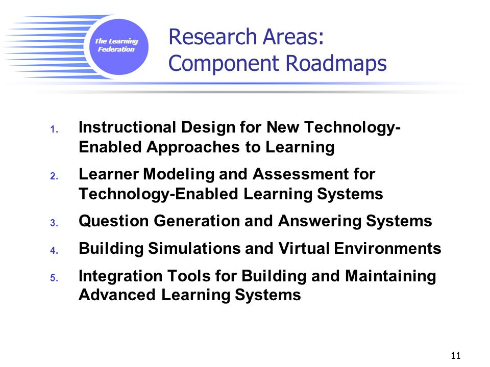 The Learning Federation 11 Research Areas: Component Roadmaps 1. Instructional Design for New Technology- Enabled Approaches to Learning 2. Learner Mo