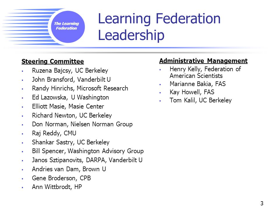 The Learning Federation 3 Learning Federation Leadership Steering Committee  Ruzena Bajcsy, UC Berkeley  John Bransford, Vanderbilt U  Randy Hinrichs, Microsoft Research  Ed Lazowska, U Washington  Elliott Masie, Masie Center  Richard Newton, UC Berkeley  Don Norman, Nielsen Norman Group  Raj Reddy, CMU  Shankar Sastry, UC Berkeley  Bill Spencer, Washington Advisory Group  Janos Sztipanovits, DARPA, Vanderbilt U  Andries van Dam, Brown U  Gene Broderson, CPB  Ann Wittbrodt, HP Administrative Management  Henry Kelly, Federation of American Scientists  Marianne Bakia, FAS  Kay Howell, FAS  Tom Kalil, UC Berkeley