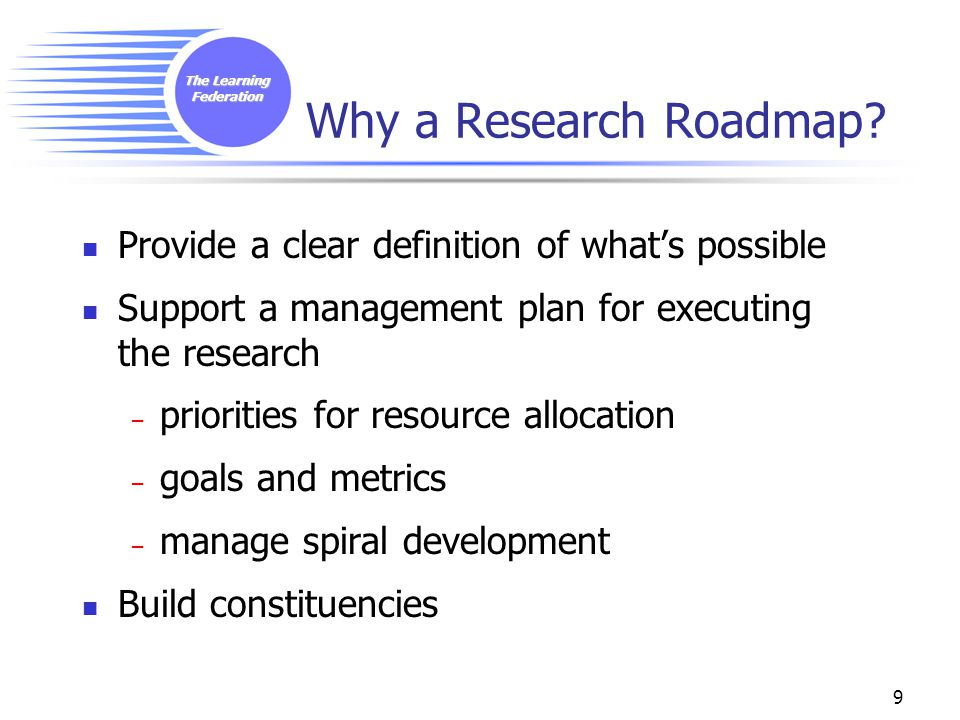 The Learning Federation 9 Why a Research Roadmap.