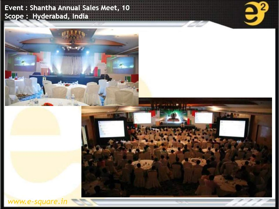 www.e-square.in Event : Shantha Annual Sales Meet, 10 Scope : Hyderabad, India