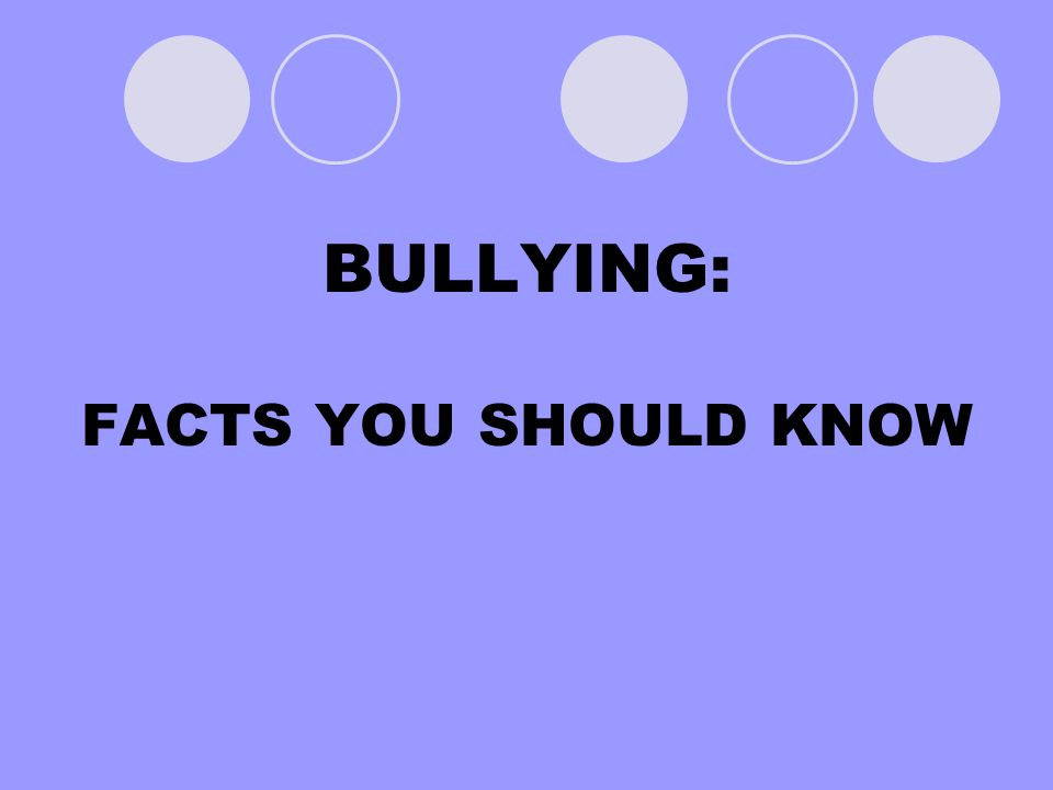 BULLYING: FACTS YOU SHOULD KNOW