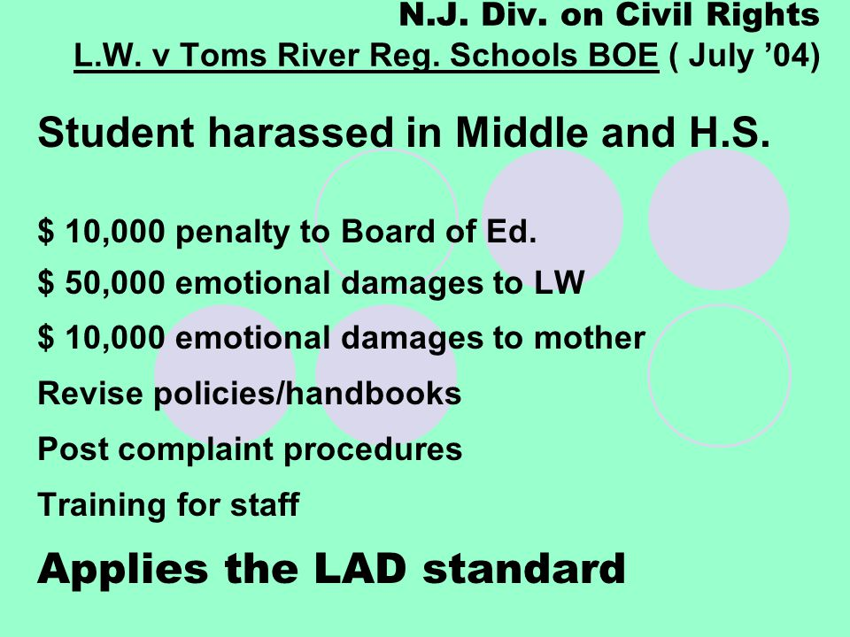 N.J. Div. on Civil Rights L.W. v Toms River Reg. Schools BOE ( July '04) Student harassed in Middle and H.S. $ 10,000 penalty to Board of Ed. $ 50,000