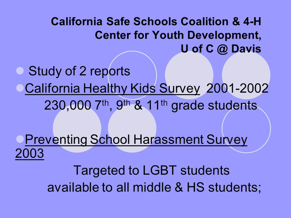 California Safe Schools Coalition & 4-H Center for Youth Development, U of C @ Davis Study of 2 reports California Healthy Kids Survey 2001-2002 230,000 7 th, 9 th & 11 th grade students Preventing School Harassment Survey 2003 Targeted to LGBT students available to all middle & HS students;