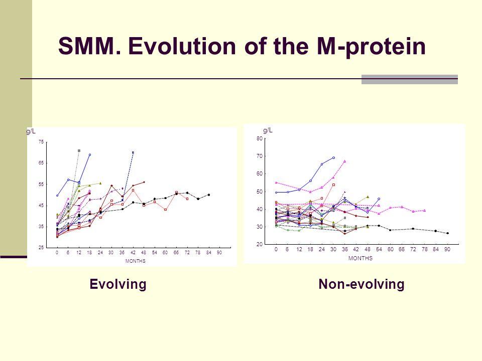 MONTHS 25 35 45 55 65 75 061218243036424854606672788490 MONTHS 20 30 40 50 60 70 80 061218243036424854606672788490 SMM. Evolution of the M-protein Evo