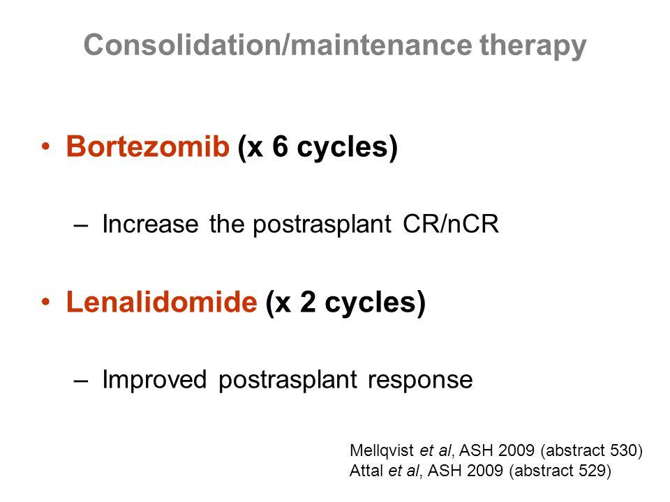 Bortezomib (x 6 cycles) – Increase the postrasplant CR/nCR Lenalidomide (x 2 cycles) – Improved postrasplant response Consolidation/maintenance therap