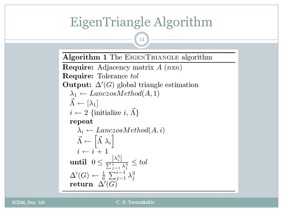 C. E. Tsourakakis EigenTriangle Algorithm ICDM, Dec. 08 11