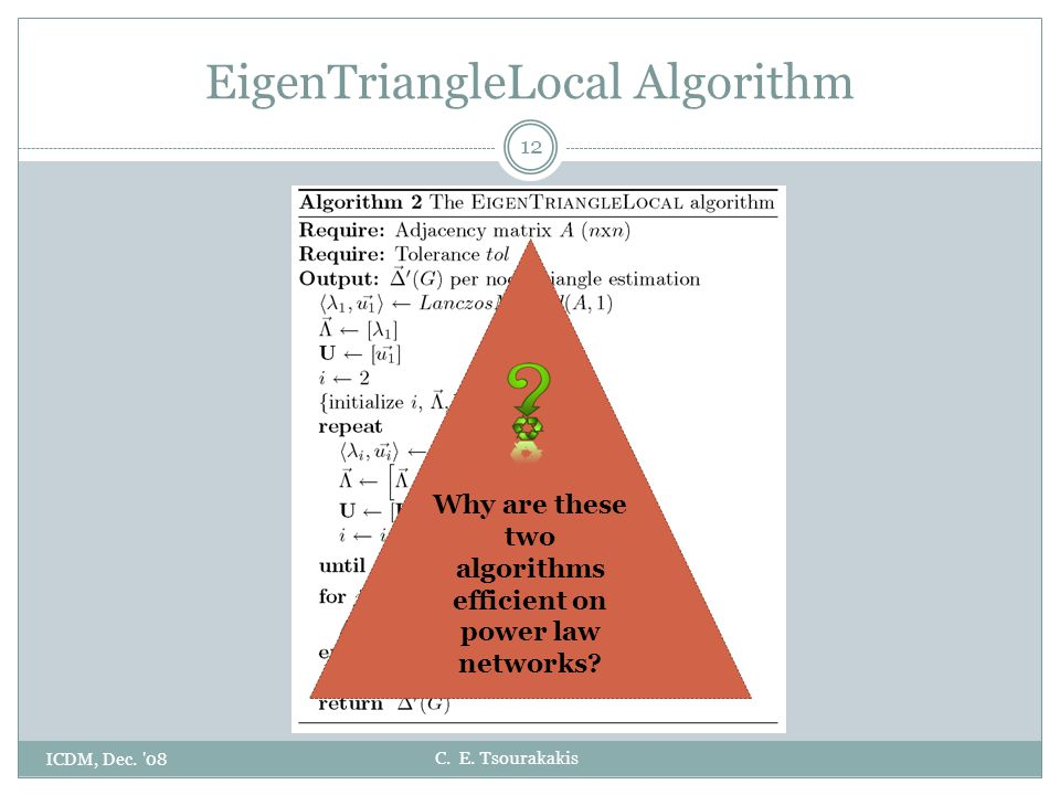 C. E. Tsourakakis EigenTriangleLocal Algorithm ICDM, Dec. '08 12 Why are these two algorithms efficient on power law networks?