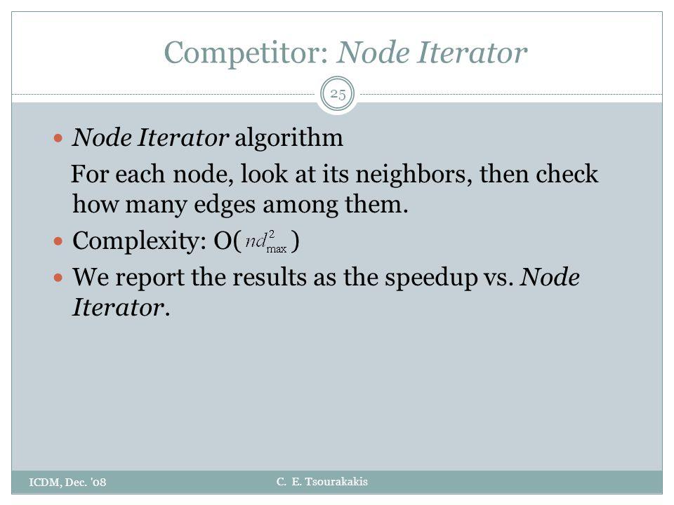 C. E. Tsourakakis Competitor: Node Iterator 25 Node Iterator algorithm For each node, look at its neighbors, then check how many edges among them. Com
