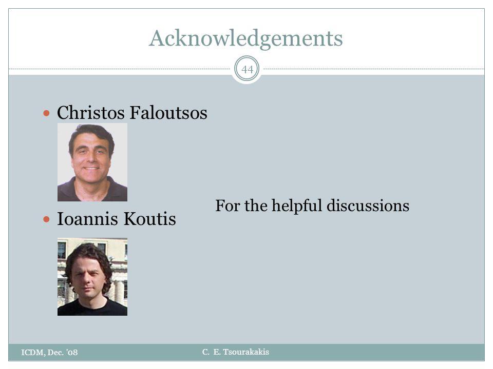 C. E. Tsourakakis Christos Faloutsos Ioannis Koutis ICDM, Dec. '08 44 Acknowledgements For the helpful discussions