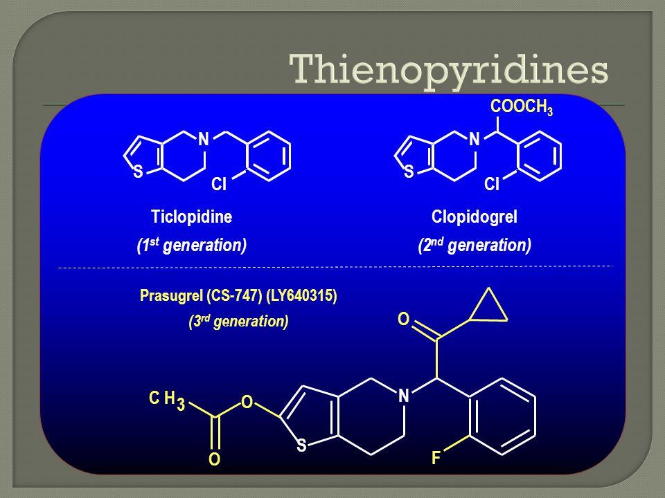 Ticlopidine (1 st generation) N S Cl N S COOCH 3 N F O S O O CH 3 Clopidogrel (2 nd generation) Prasugrel (CS-747) (LY640315) (3 rd generation)