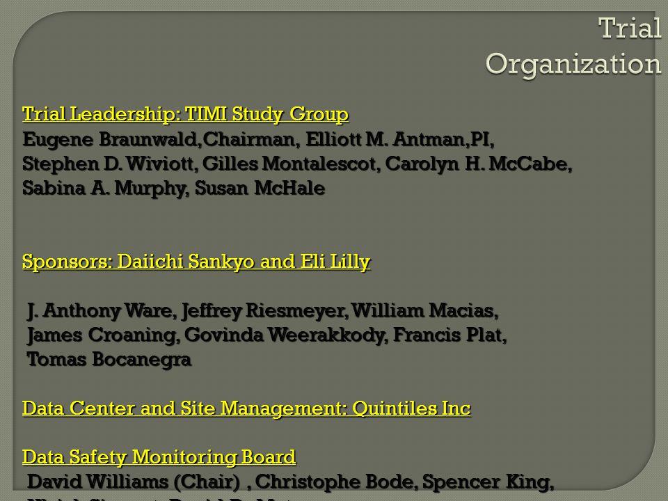 Trial Organization Trial Leadership: TIMI Study Group Eugene Braunwald,Chairman, Elliott M. Antman,PI, Stephen D. Wiviott, Gilles Montalescot, Carolyn