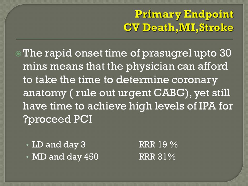  The rapid onset time of prasugrel upto 30 mins means that the physician can afford to take the time to determine coronary anatomy ( rule out urgent CABG), yet still have time to achieve high levels of IPA for proceed PCI LD and day 3 RRR 19 % MD and day 450 RRR 31%