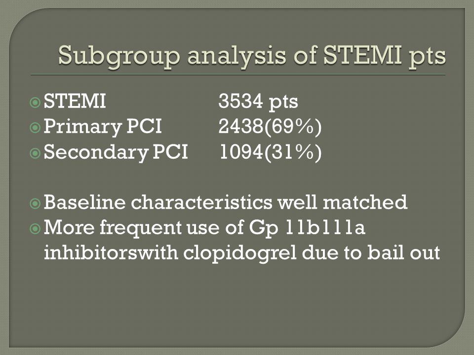  STEMI 3534 pts  Primary PCI2438(69%)  Secondary PCI1094(31%)  Baseline characteristics well matched  More frequent use of Gp 11b111a inhibitorswith clopidogrel due to bail out
