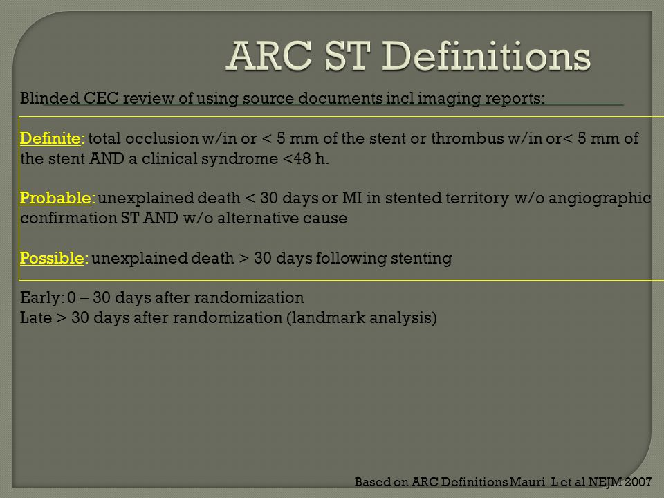 Blinded CEC review of using source documents incl imaging reports: Definite: total occlusion w/in or < 5 mm of the stent or thrombus w/in or< 5 mm of