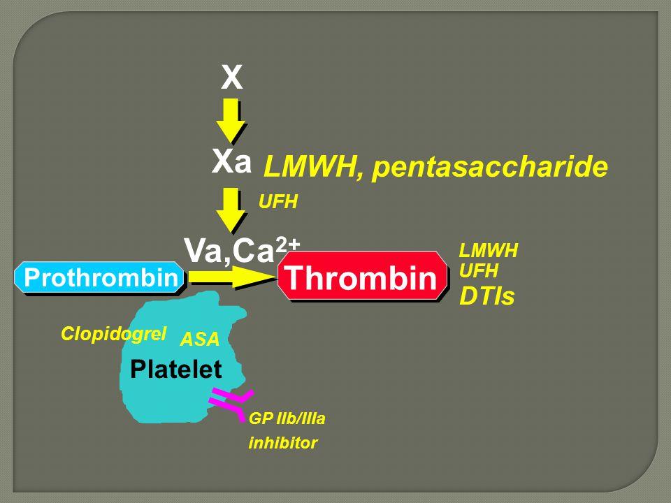 Prothrombin Thrombin Xa X Va,Ca 2+ Platelet UFH LMWH UFH DTIs GP IIb/IIIa inhibitor ASA Clopidogrel LMWH, pentasaccharide