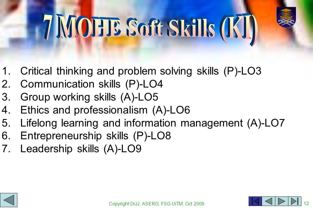 Copyright DrJJ, ASERG, FSG UiTM, Oct 2009 12 1.Critical thinking and problem solving skills (P)-LO3 2.Communication skills (P)-LO4 3.Group working ski