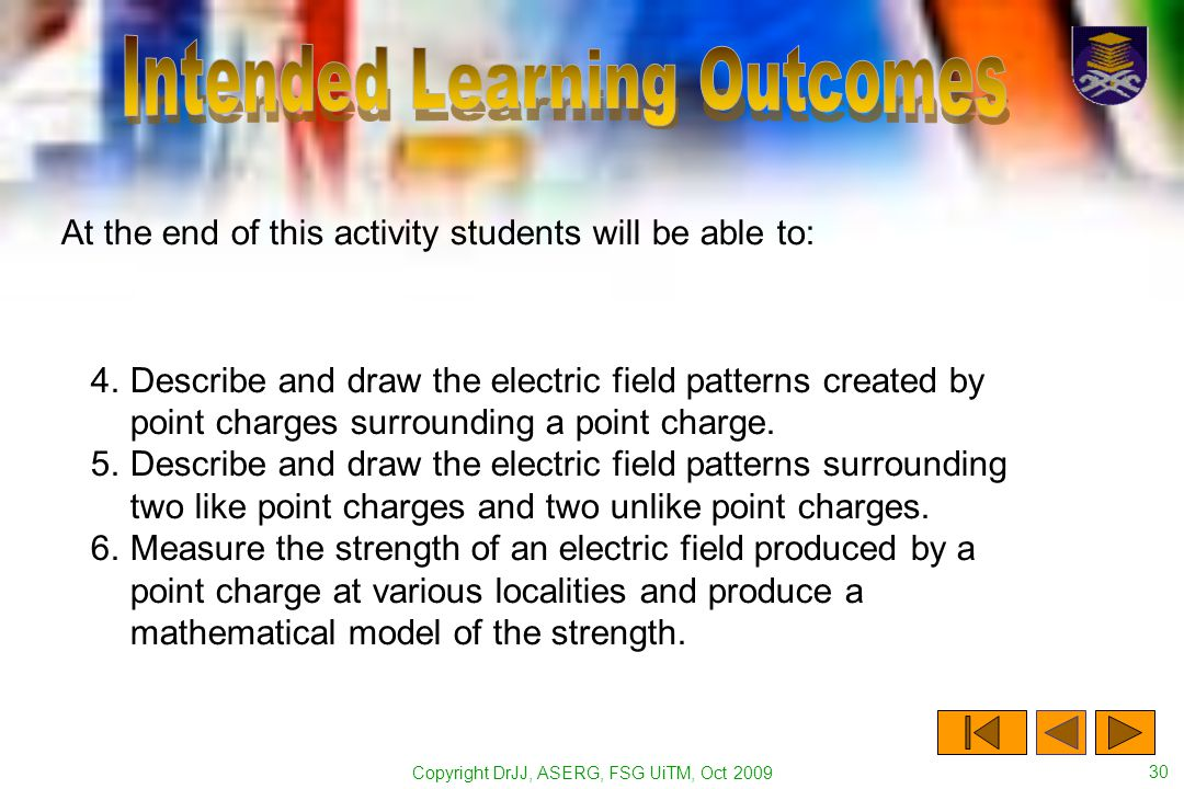 Copyright DrJJ, ASERG, FSG UiTM, Oct 2009 30 At the end of this activity students will be able to: 4.Describe and draw the electric field patterns created by point charges surrounding a point charge.