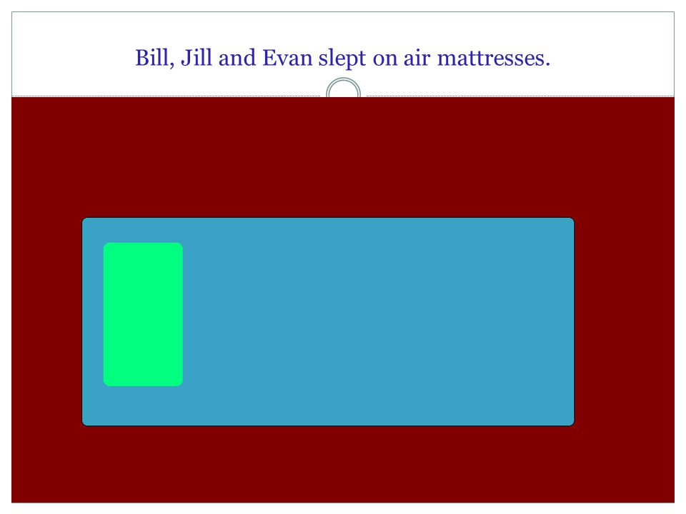 Bill, Jill and Evan slept on air mattresses.