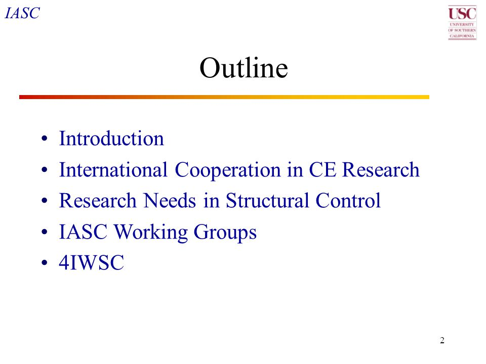 IASC 43 4IWSC Agenda, Friday 11 June 2004 8:00-10:30 Special Session on Distributed Sensing for Structural Systems in the USA  Overview of State-of-the-Art in Sensor Nets  State-of-the-Art in Wireless Sensing  NEES Nodes Sensor Capabilities and NEESgrid Capabilities  High-Accuracy GPS-based Relative Position Dynamic Sensing  Overview of State-of-the-Art in Model-Based Simulation & the Interface with Sensing Data 10:30-11:00 coffee break 10:45-12:00 Research Needs in Structural Control and Monitoring Areas (smart materials, innovative sensing hardware, wireless technology, semi-active actuators, simulation, etc) 12:00-1:30 Lunch 1:30-2:15 WG summary reports (each about 15 min with discussion) 2:15 - 3:00 pm General discussion 3:00 pm Adjourn Further details regarding the 4IWSC program, registration, housing information and paper format can be obtained from: http://www.civil.columbia.edu/4IWSC.http://www.civil.columbia.edu/4IWSC