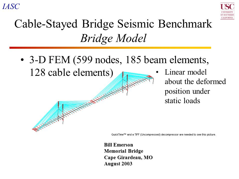 IASC 20 Cable-Stayed Bridge Seismic Benchmark Bridge Model 3-D FEM (599 nodes, 185 beam elements, 128 cable elements) Bill Emerson Memorial Bridge Cap