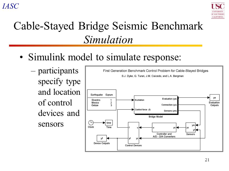 IASC 21 Cable-Stayed Bridge Seismic Benchmark Simulation Simulink model to simulate response: –participants specify type and location of control devic
