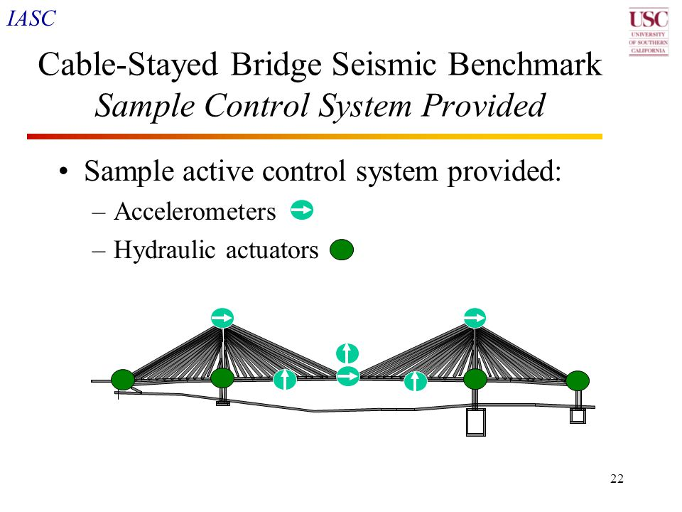 IASC 22 Cable-Stayed Bridge Seismic Benchmark Sample Control System Provided Sample active control system provided: –Accelerometers –Hydraulic actuato