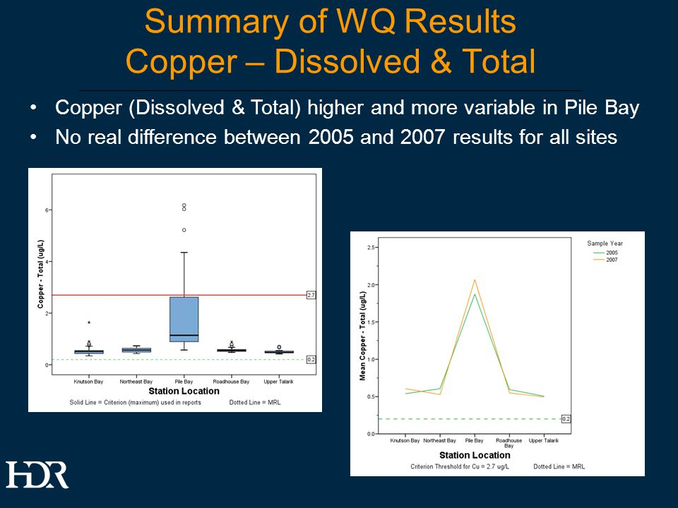 Summary of WQ Results Copper – Dissolved & Total Copper (Dissolved & Total) higher and more variable in Pile Bay No real difference between 2005 and 2007 results for all sites