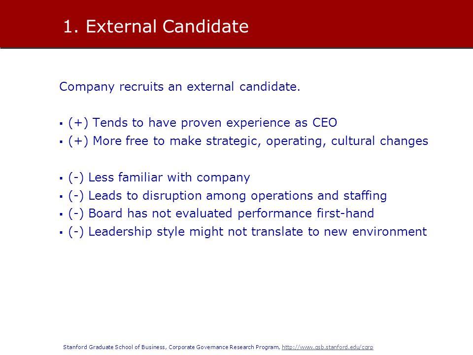 Stanford Graduate School of Business, Corporate Governance Research Program, http://www.gsb.stanford.edu/cgrphttp://www.gsb.stanford.edu/cgrp Company recruits an external candidate.