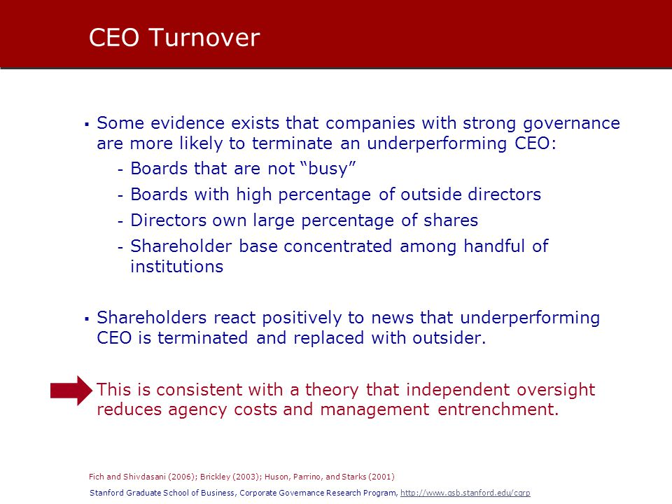 Stanford Graduate School of Business, Corporate Governance Research Program, http://www.gsb.stanford.edu/cgrphttp://www.gsb.stanford.edu/cgrp  Most new CEOs are internal executives (80 percent).