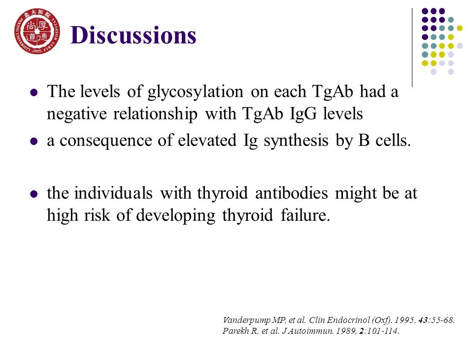 The levels of glycosylation on each TgAb had a negative relationship with TgAb IgG levels a consequence of elevated Ig synthesis by B cells.