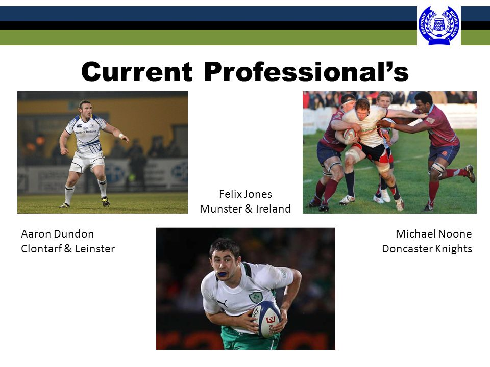 Current Professional's Aaron Dundon Clontarf & Leinster Michael Noone Doncaster Knights Felix Jones Munster & Ireland