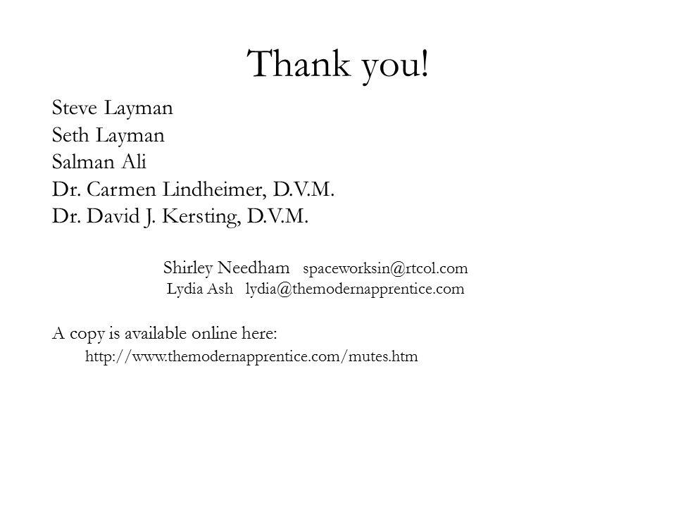 Thank you! Steve Layman Seth Layman Salman Ali Dr. Carmen Lindheimer, D.V.M. Dr. David J. Kersting, D.V.M. Shirley Needham spaceworksin@rtcol.com Lydi