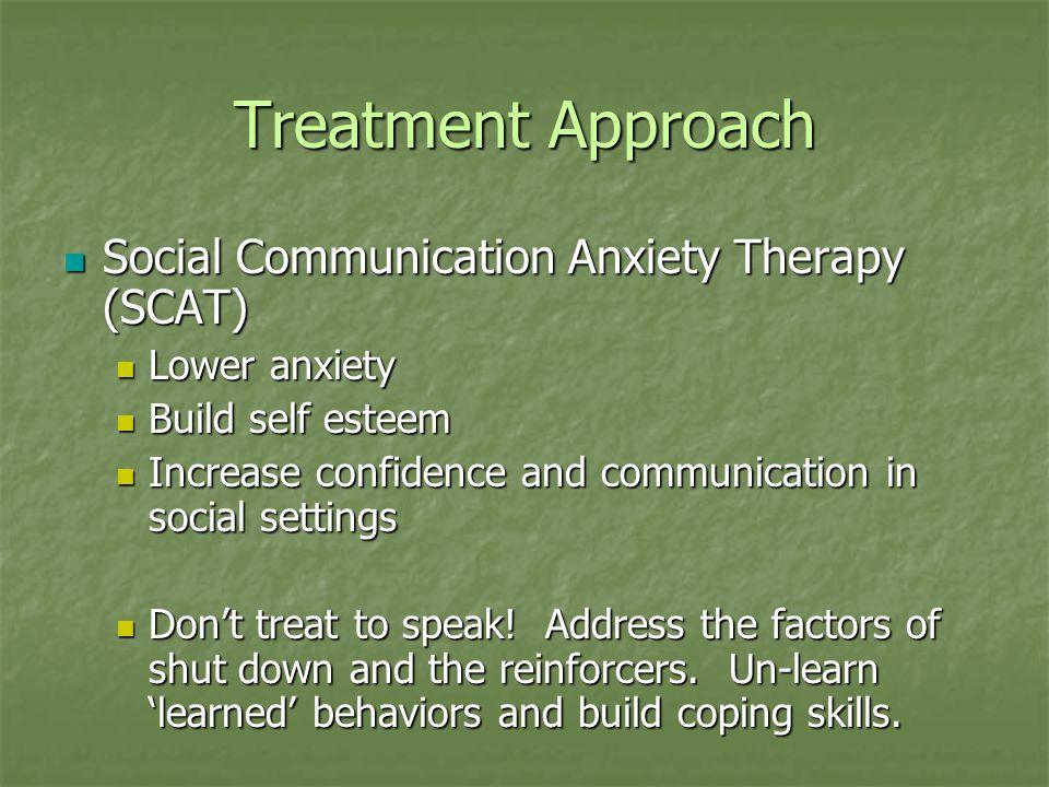 Treatment Approach Social Communication Anxiety Therapy (SCAT) Social Communication Anxiety Therapy (SCAT) Lower anxiety Lower anxiety Build self este