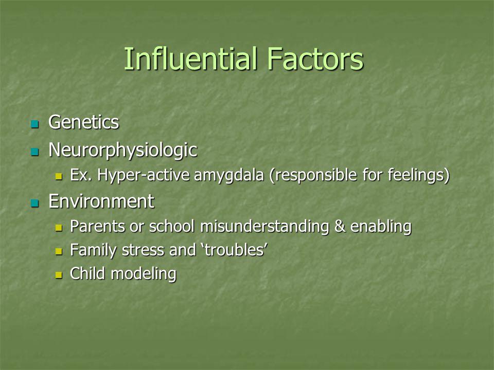 Influential Factors Genetics Genetics Neurorphysiologic Neurorphysiologic Ex. Hyper-active amygdala (responsible for feelings) Ex. Hyper-active amygda