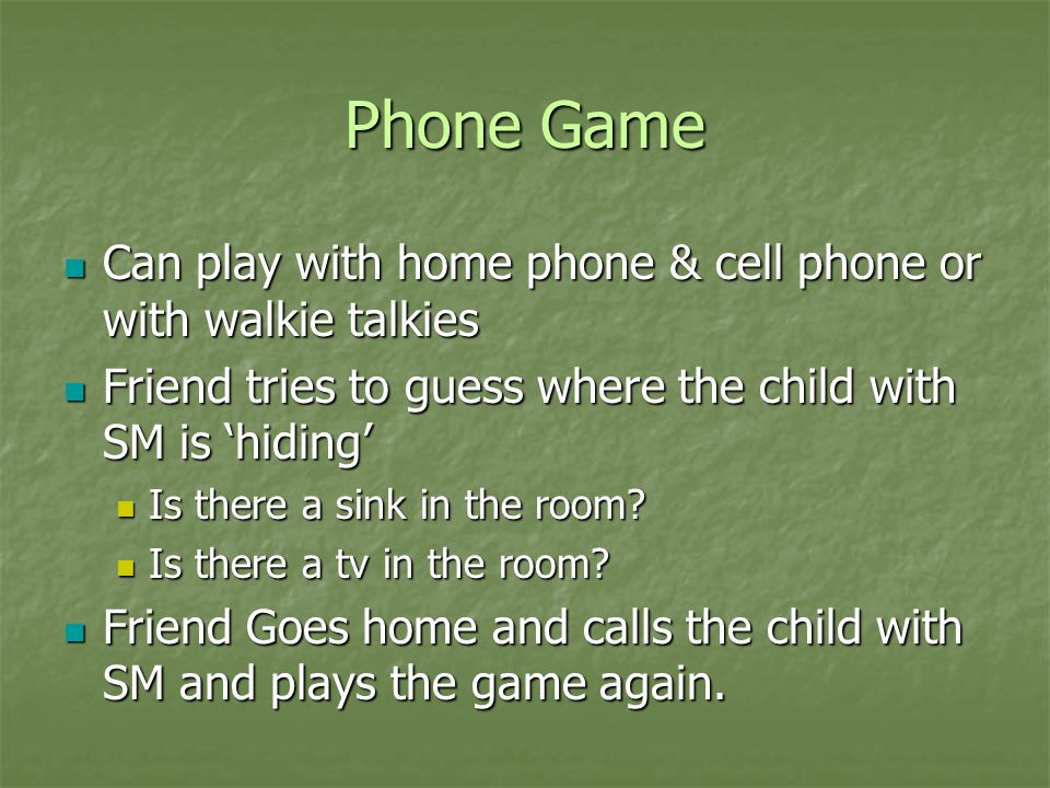 Phone Game Can play with home phone & cell phone or with walkie talkies Can play with home phone & cell phone or with walkie talkies Friend tries to g