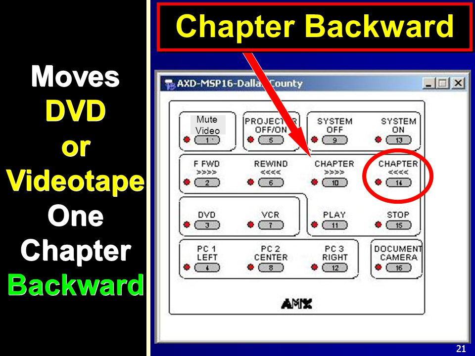 21 Moves DVD or Videotape One Chapter Backward Chapter Backward Mute Video
