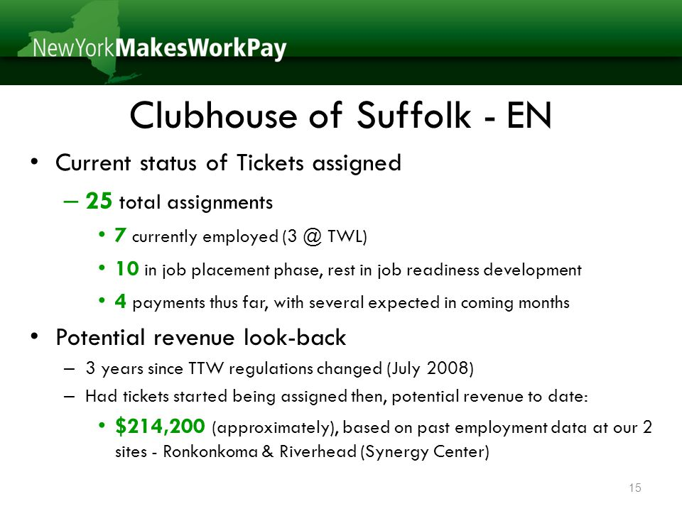 Clubhouse of Suffolk - EN Current status of Tickets assigned – 25 total assignments 7 currently employed (3 @ TWL) 10 in job placement phase, rest in job readiness development 4 payments thus far, with several expected in coming months Potential revenue look-back – 3 years since TTW regulations changed (July 2008) – Had tickets started being assigned then, potential revenue to date: $214,200 (approximately), based on past employment data at our 2 sites - Ronkonkoma & Riverhead (Synergy Center) 15