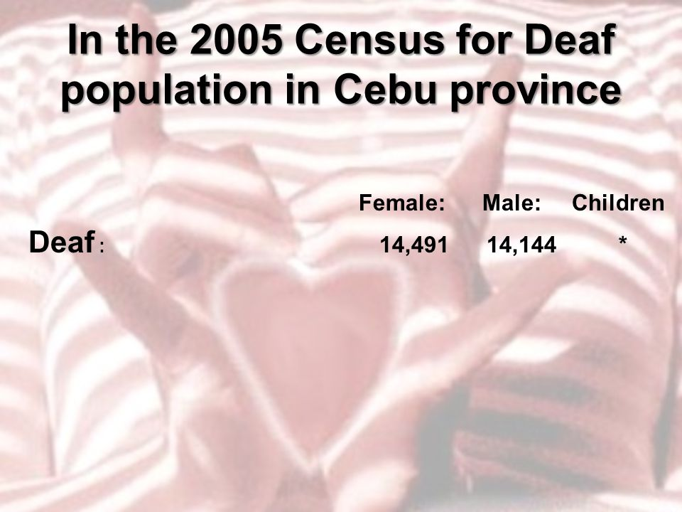 In the 2005 Census for Deaf population in Cebu province Female: Male: Children Deaf : 14,491 14,144 *